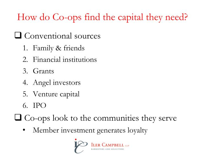 How do Co-ops find the capital they need?