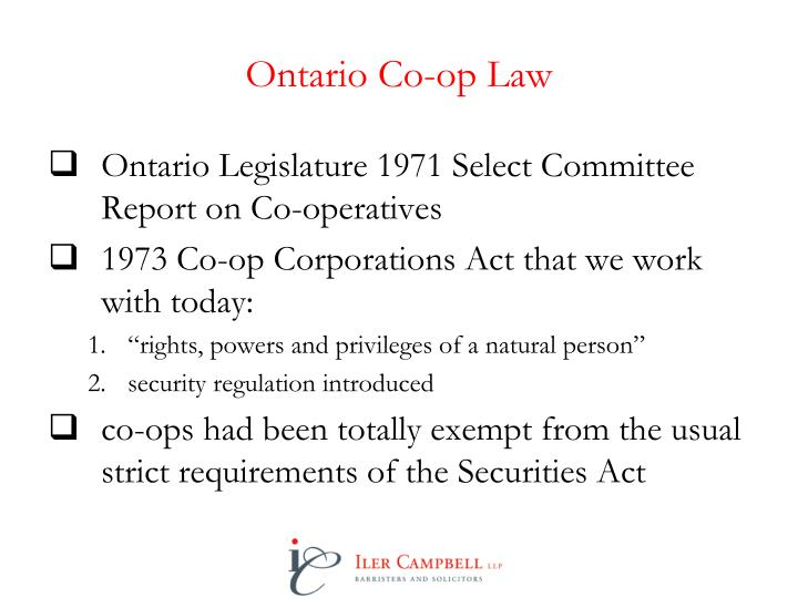 Ontario Co-op Law