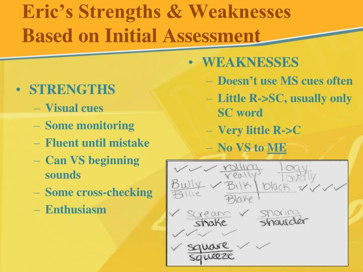 Eric's Strengths & Weaknesses Based on Initial Assessment