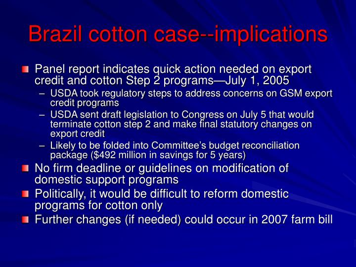 Brazil cotton case--implications