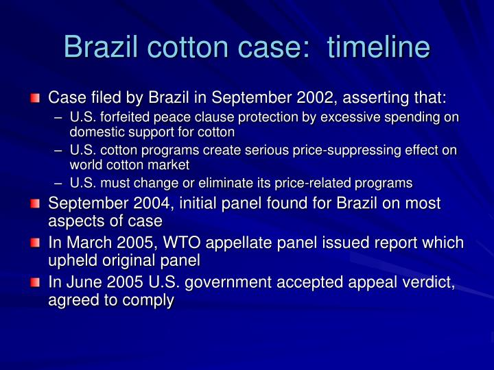 Brazil cotton case:  timeline