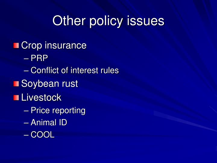 Other policy issues