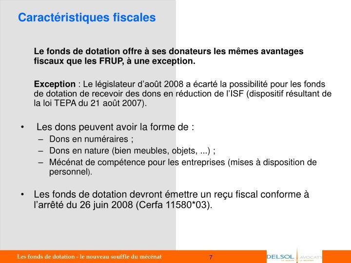 Caractéristiques fiscales