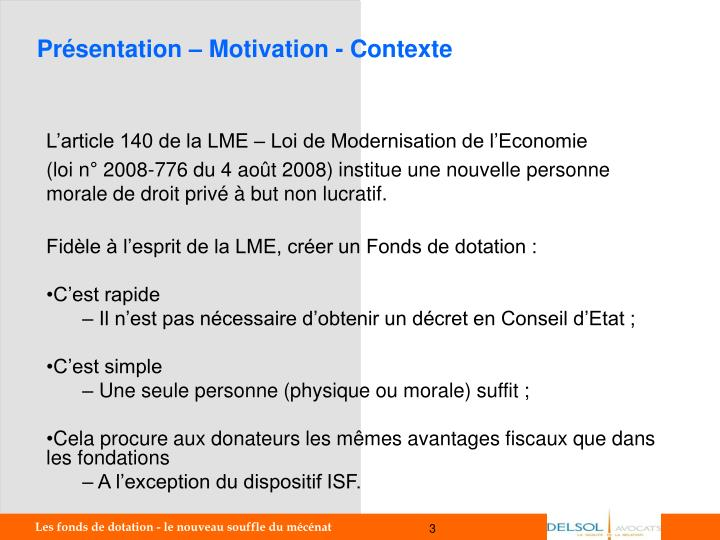 Pr sentation motivation contexte