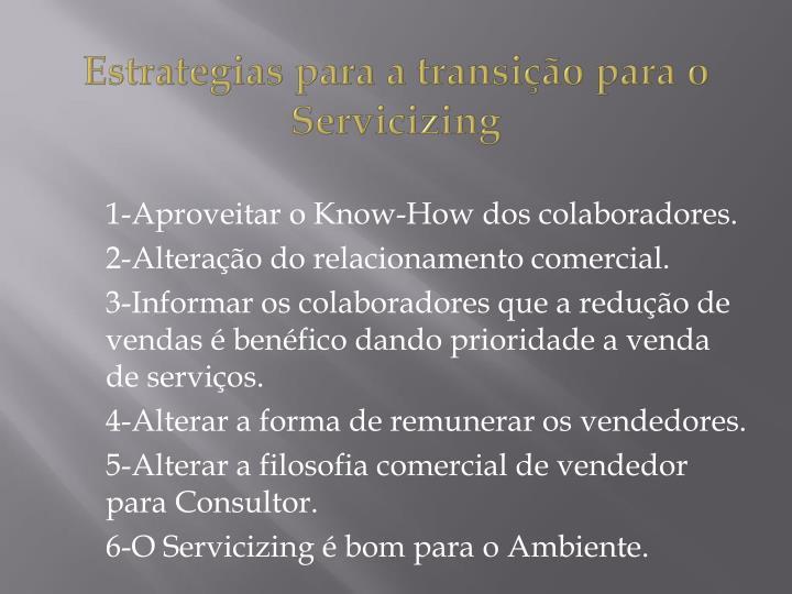 Estrategias para a transição para o Servicizing