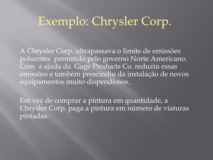 Exemplo: Chrysler Corp.