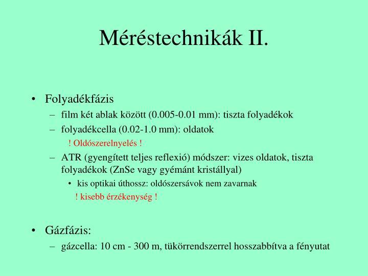 Méréstechnikák II.