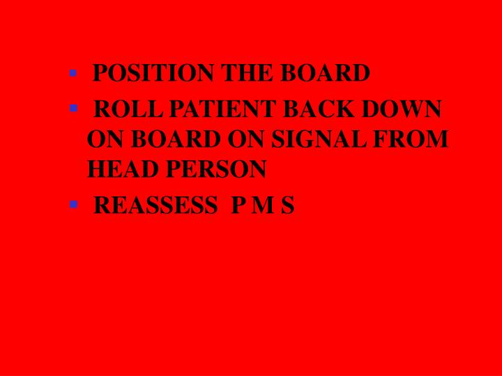 POSITION THE BOARD