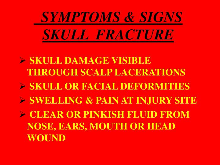 SYMPTOMS & SIGNS SKULL  FRACTURE