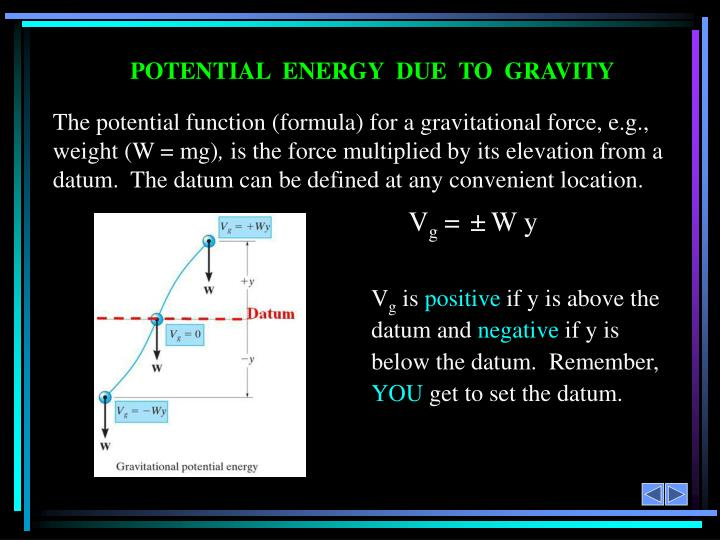 The potential function (formula) for a gravitational force, e.g., weight (W = mg)
