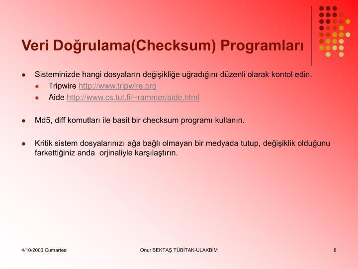 Veri Doğrulama(Checksum) Programları
