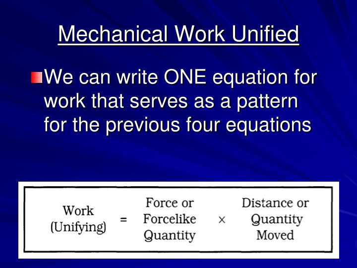 Mechanical Work Unified