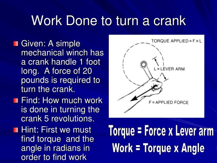 Work Done to turn a crank