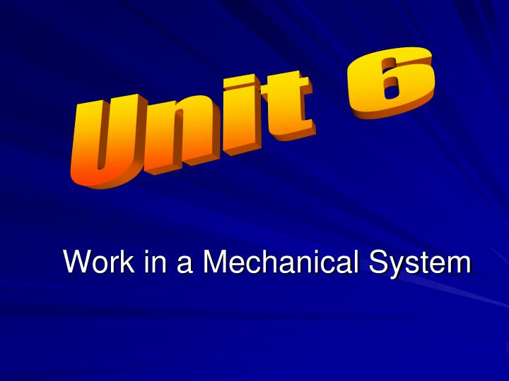 Work in a mechanical system