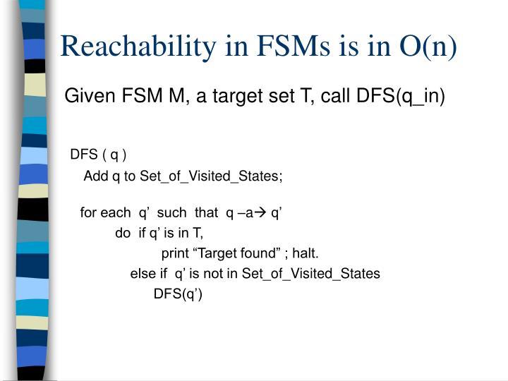 Reachability in FSMs is in O(n)
