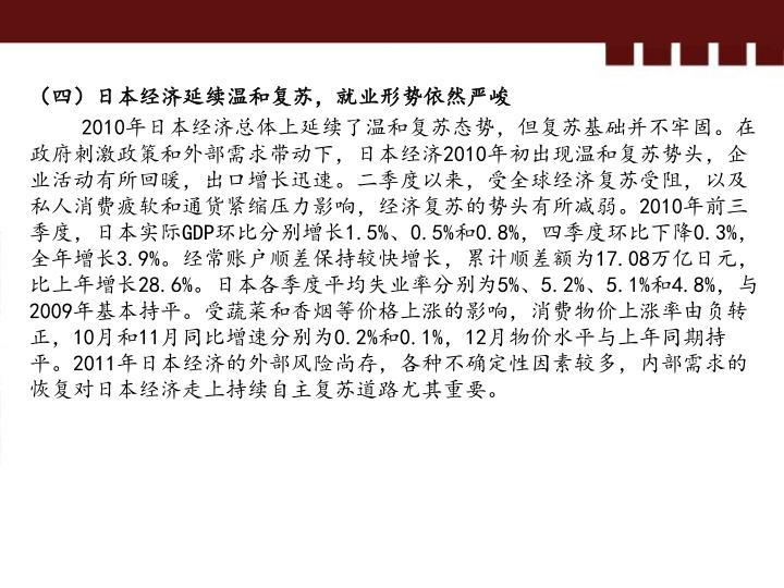 (四)日本经济延续温和复苏,就业形势依然严峻