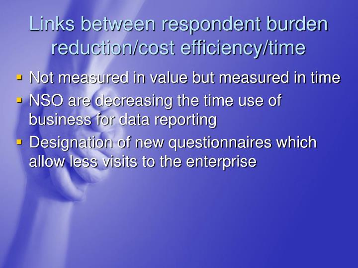 Links between respondent burden reduction/cost efficiency/time