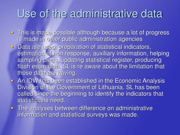 Use of the administrative data