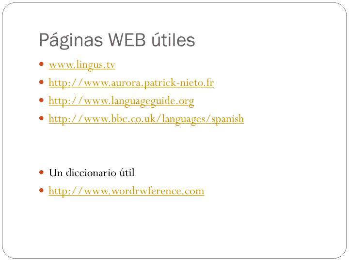Páginas WEB útiles