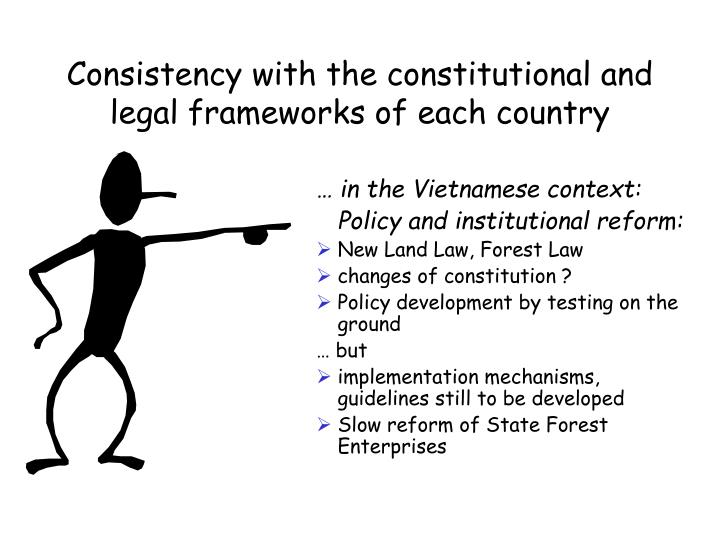 Consistency with the constitutional and legal frameworks of each country