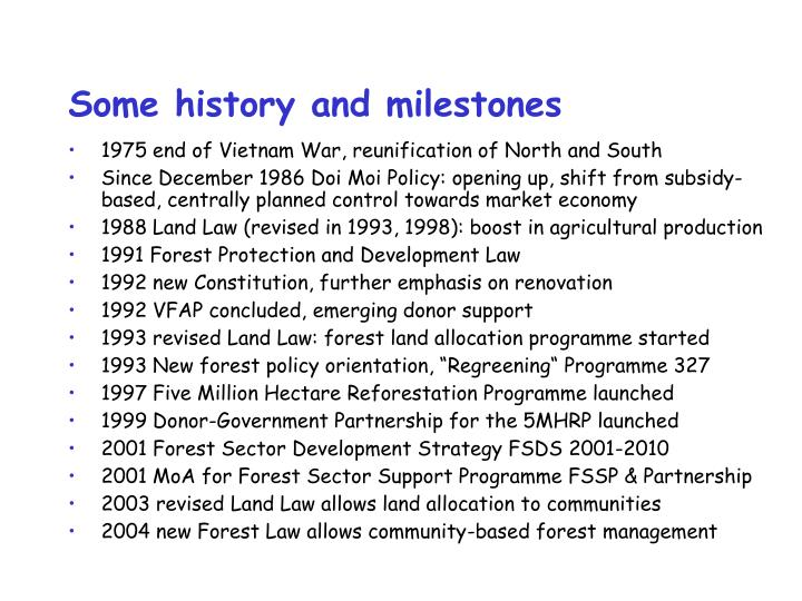 Some history and milestones