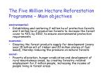 the five million hectare reforestation programme main objectives