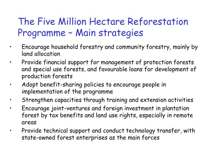 The Five Million Hectare Reforestation Programme – Main strategies