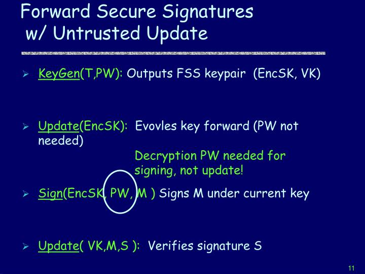 Decryption PW needed for signing, not update!