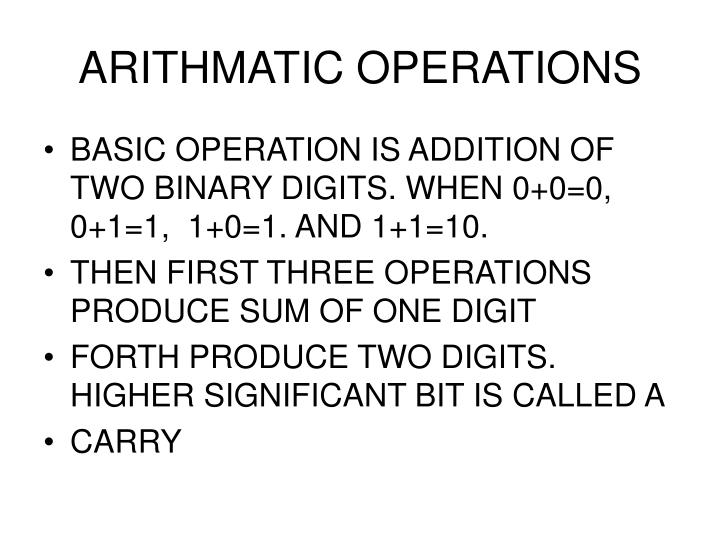 ARITHMATIC OPERATIONS