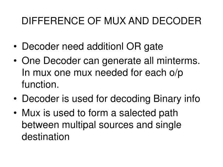 DIFFERENCE OF MUX AND DECODER