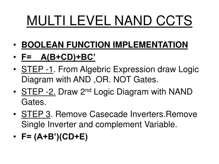 MULTI LEVEL NAND CCTS