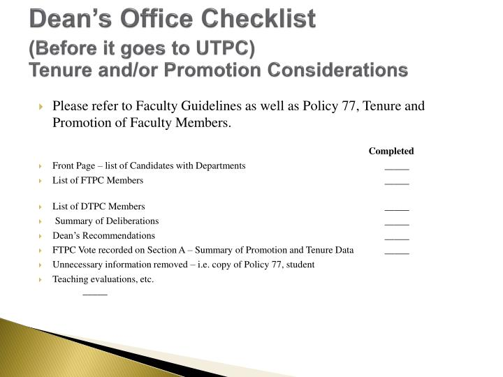 Dean's Office Checklist