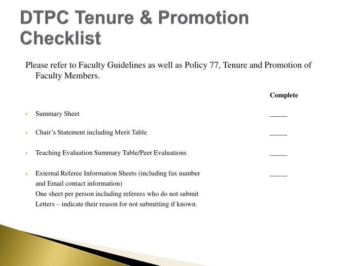 DTPC Tenure & Promotion