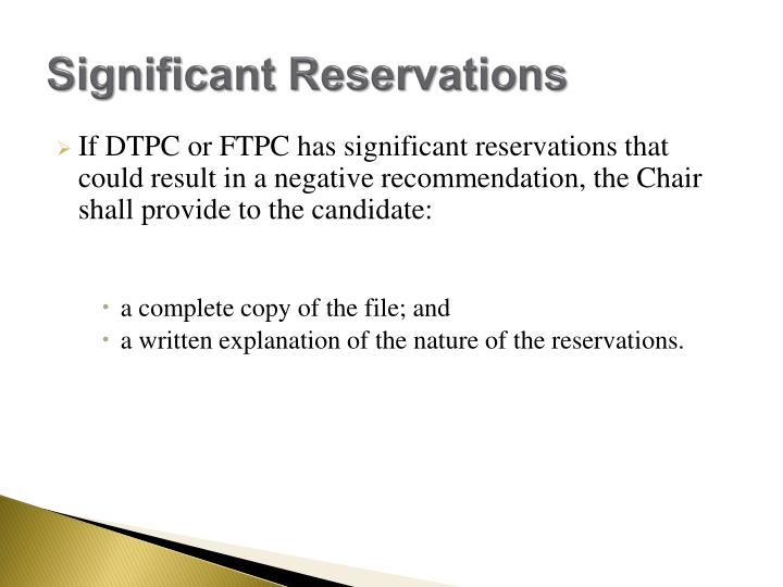 Significant Reservations