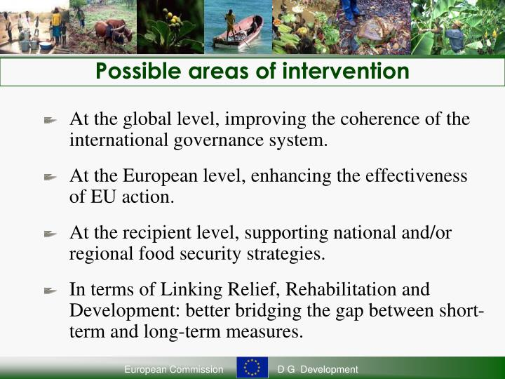 Possible areas of intervention