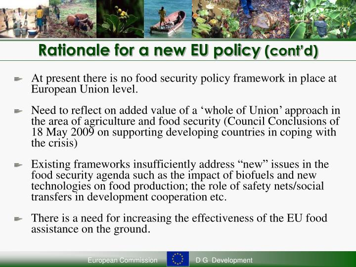 Rationale for a new EU policy