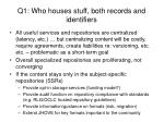 q1 who houses stuff both records and identifiers