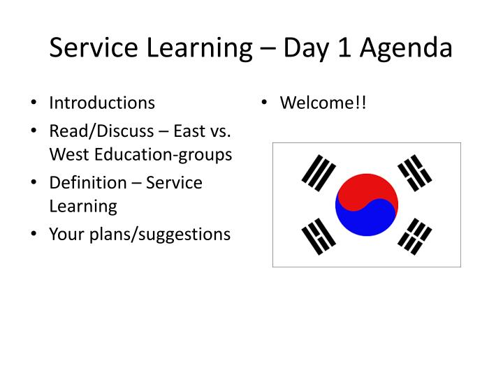 Service Learning – Day 1 Agenda