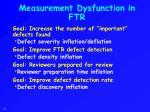 measurement dysfunction in ftr