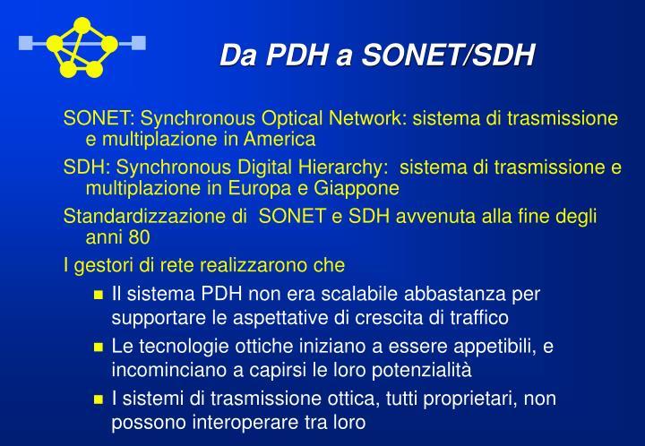 Da PDH a SONET/SDH