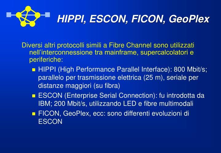 HIPPI, ESCON, FICON, GeoPlex