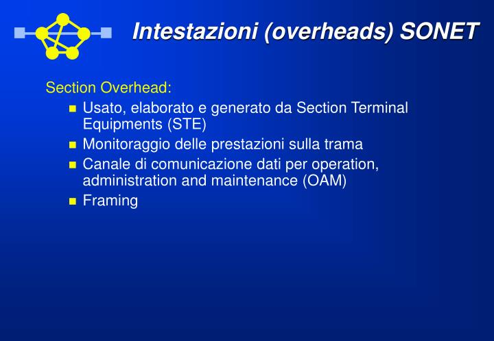 Intestazioni (overheads) SONET