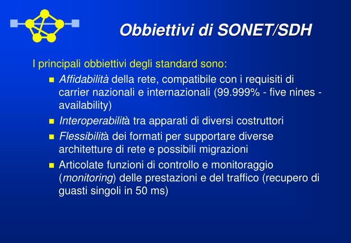 Obbiettivi di SONET/SDH