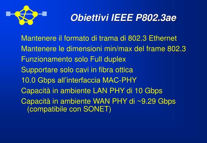 Obiettivi IEEE P802.3ae