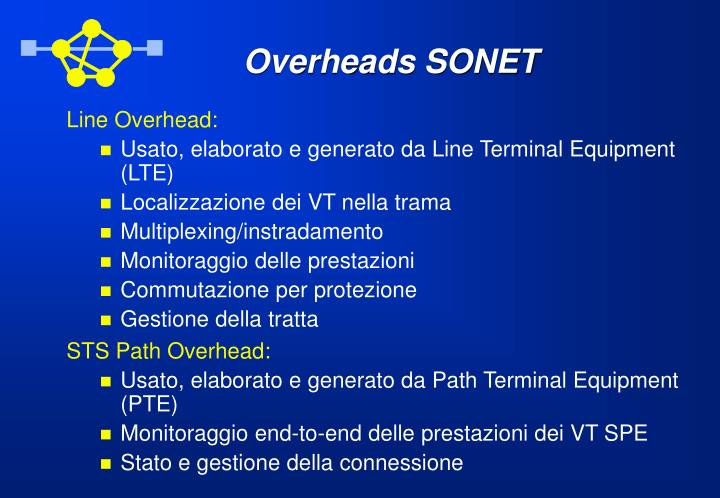Overheads SONET