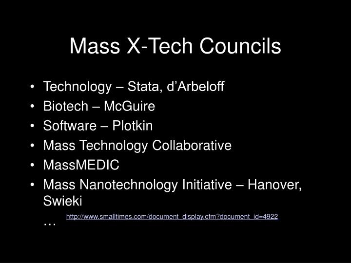 Mass X-Tech Councils