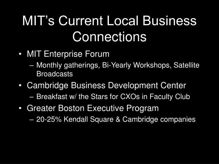 MIT's Current Local Business Connections