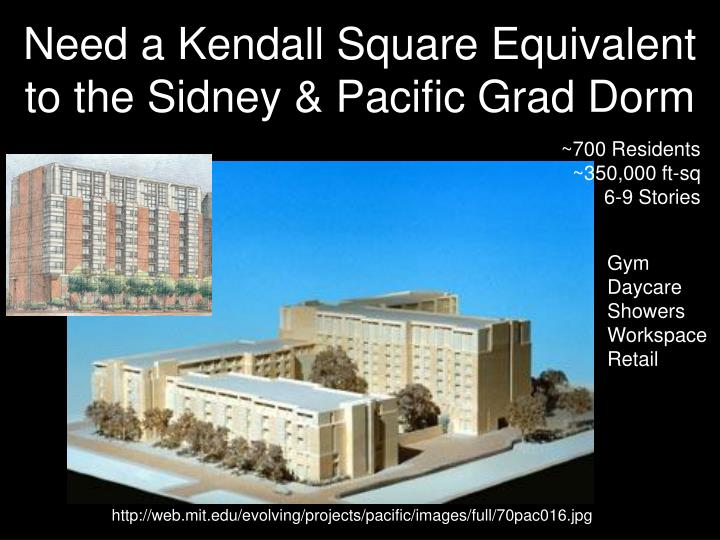 Need a Kendall Square Equivalent to the Sidney & Pacific Grad Dorm