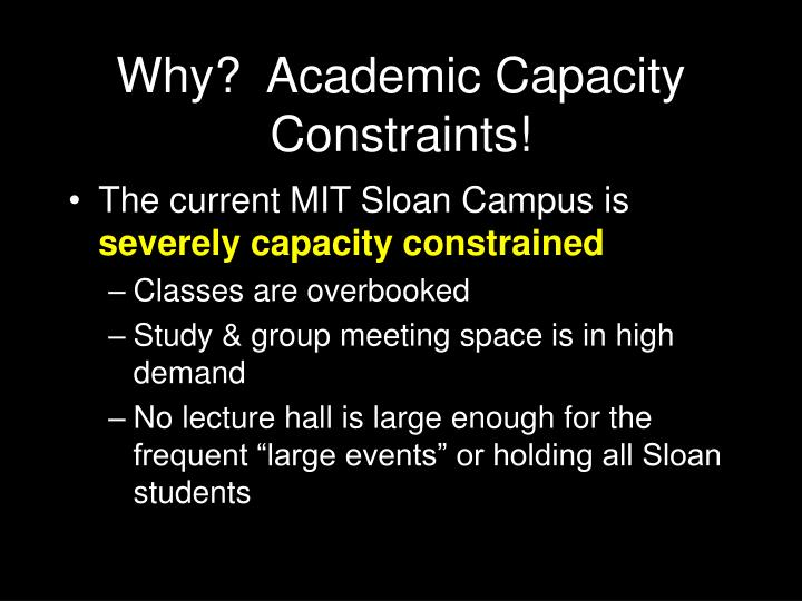 Why?  Academic Capacity Constraints!