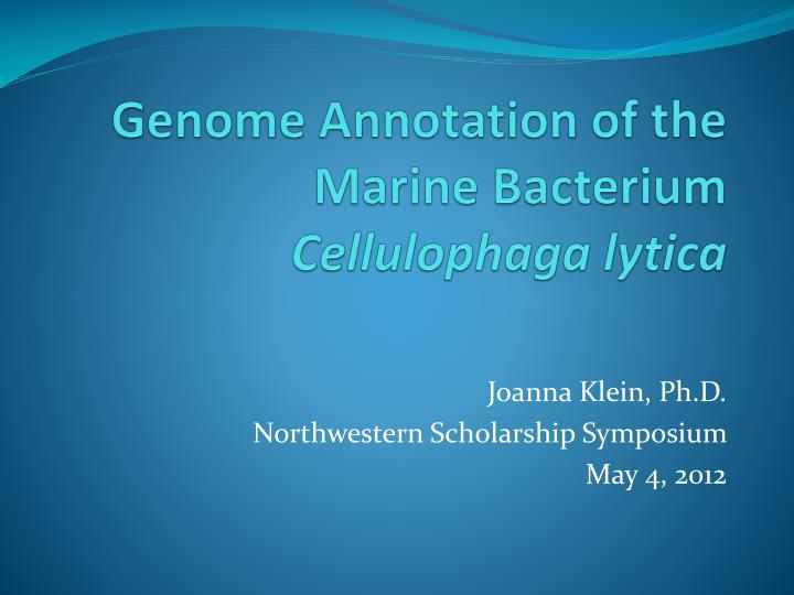 Genome annotation of the marine bacterium cellulophaga lytica